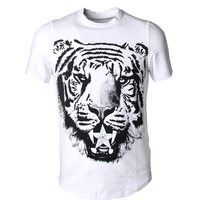 2013 summer tiger pattern short-sleeve T-shirt male the trend of male 100% cotton o-neck short-sleeve T-shirt