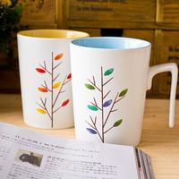 Cup 7 handle cup belt - wood cover zakka mug ceramic cup milk glass