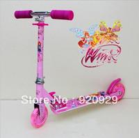 0809 Winx Club Girl 11 4pieces aluminum child flash wheel height kart roller skateboard scooter