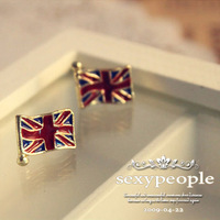 promotion women girls fashion lovely jewelry england style british flag shaped stud earrings free shipping
