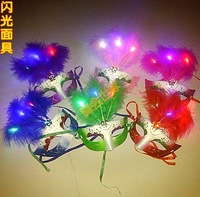 Free shipping wholesale 10pcs/lot Led light emitting feather mask nice colorful