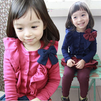 Hot Free shipping 2013 autumn new Korean style children's clothing sweet baby girl coat princess elegant bow cardigan jacket
