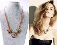 Min $20  fashion accessories vintage landscape glass beads necklace