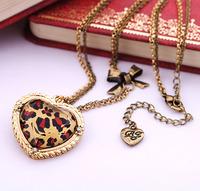 Min $20  accessories leopard print heart women's short design necklace