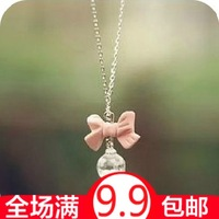 Small accessories pink bow crystal drop necklace female