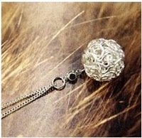 Accessories fashion personality cutout knitted ball iron wire ball diamond necklace female sepak takraw necklace