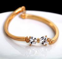 Min $20 14k gold austria crystal clover flower bow bracelet female