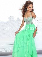 Sexy A-Line/Princess Halter Sleeveless Floor-Length Low Price Chiffon zuhair murad evening dresses