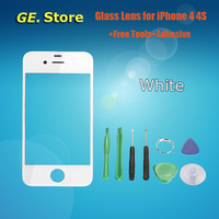 For Apple iPhone 4 4G 4S Original Front Digitizer Touch Outer Glass Lens Replacement White Color Free shipping+Tools+Adhesive