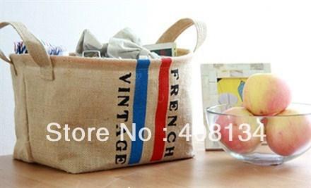 1pcs drop shipping Retro Flag Storage Bag ,romantic paris flag home garden storager bag, oragnizer bags-small or big size-French(China (Mainland))