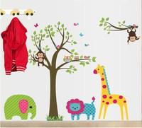 Free Shipping Custom Personalised Name Monkey Tree Wall Art Stickers Kids Nursery Vinyl Decals DIY