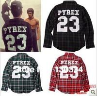 2013 new arrival Pyrex Vision Champion number 23 skirt ,Plaid long-sleeved shirt,hip-hop fashion brand skirt .