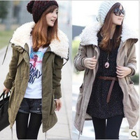New  tooling  fleece thickening large lapel medium-long wadded jacket overcoat outerwear winter coat women