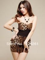 Strapless dress leopard nightclub