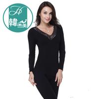 Beauty care V-neck lace underwear female thermal underwear long johns long johns basic set