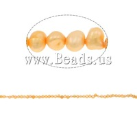 Free shipping!!!Potato Cultured Freshwater Pearl Beads,Vintage, natural, gold, 4-5mm, Hole:Approx 0.8mm, Length:14 Inch