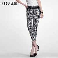 Pants 2013 autumn all-match fashion elastic fancy trousers cropped pants 0510