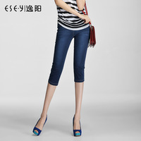 Pants 2013 summer slim mid waist denim capris female plus size 0459x