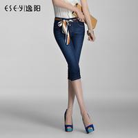 Pants 2013 summer all-match elastic trousers pleated denim capris 0457x
