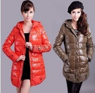 Winter aniena glossy slim medium-long thermal female down coat