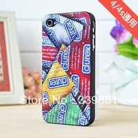 Wholesale unique durex design hard cases condons painted case For iphone4g,For iphone 4 4s,free shipping MOQ:10pcss