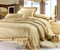 FREE SHIPPING   100% faux silk cotton satin jacquard piece bedding set camel