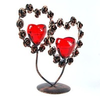 Wedding Favors Lover's Gifts Romantic Iron Heart Shaped Candlestick Holder Creative Heart Candle Stand  Free Shipping