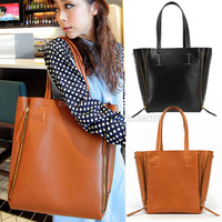 New Womens Simple Style Pu Leather Shoulder Bag Tote Satchel Handbag Black Brown 2 Color (bx55)