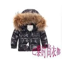 2013 children's clothing baby down coat male female child black short design large raccoon fur down coat short design