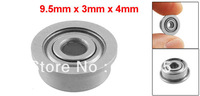 9.5mm x 3mm x 4mm Silver Tone Sealed Premium Flanged Ball Bearing