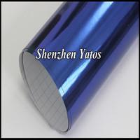 Blue Chrome Auto Vinyl Film Car Chrom Mirror Cover Sticker Sheet Air Free