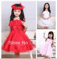New fashion 2013 evening dress High quality beautiful flower girl wedding party dresses Holiday performance dress 6 pcs lot