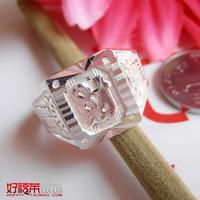 999 pure silver square male ring