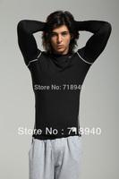 Basic sports fitness elastic football clothing long-sleeve T-shirt male underware sportware straitest turtleneck training