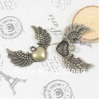 20pcs/lot Wholesale alloy vintage bronze lovely heart wing charm 26*35mm Fit Diy Handmade