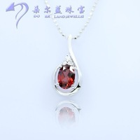 Fashion beauty of garnet pendant necklace natural 925 silver necklace female short design