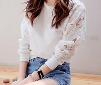 20114 Spring And Autumn Flower Lace Cutout Sleeves Gentlewomen All-match Sweatshirt Long-sleeve T-shirt
