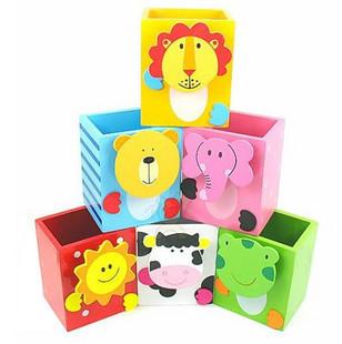 Office Desk Accessories School Supplies free Shipping Korea Stationery Cartoon Animal Wooden Pen Desktop Storage Box Wool Gift(China (Mainland))