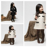 2013 Autumn/Winter New Girls' Air Cotton Dress,Kids' Pocket Dress,Children's Clothing,2-8Y,Free Shipping,5pcs/lot,D3-063