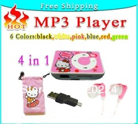 New Free Shipping 20 pcs/lot Best Gift Glossy Cute Hello Kitty Clip MP3 Player with good earphones + GIFT 4 in 1 mp3 5 Colors