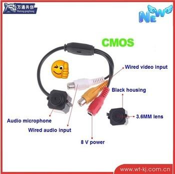 CCTV Camera Mini 420TVL 1/4 COMS Pinhole Camera Hidden Cam with Mic Security Camera (Free Shipping)