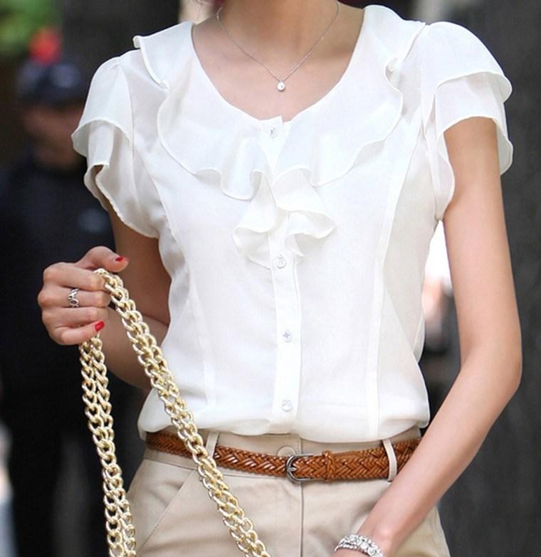 New 2014 summer women's plus size white chiffon shirt short-sleeve top ruffle shirt xxxl 4xl 5xl plus size summer clothing(China (Mainland))