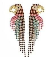 2014 Free Shipping Fashion Exaggerated Full Rhinestone Punk Parrot All-Match Earrings for Women Stud Wedding Earrings