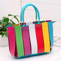 Fashion rainbow 2013 fashion bag patchwork shoulder bag color block women's handbag women's handbag casual handbag