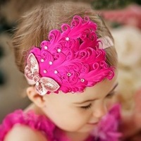 Wholesale children hair jewelry baby sequined bow feather headband hair hoop