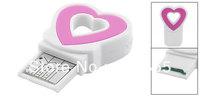 White Pink Plastic Heart Shape USB 2.0 TF Micro SD Mini Card Reader Adapter