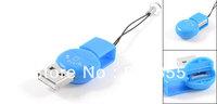 Blue Plastic Rotatable USB TF Micro SD Mini Card Reader Adapter Keychain