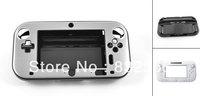 Silver Tone Aluminum Coated Black Hard Case Cover for Nintendo Wii U Gamepad