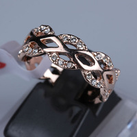 R029 Rhinestones Studded Gold Ring 18K Gold Plated Made with Genuine Austrian Crystals Full Sizes Wholesale