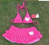 Hello Kitty Children swimsuit bikini +dress girl's swimwear Free Shipping